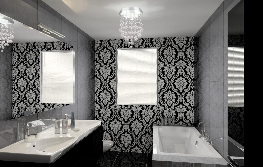 łazienka Wystrój Nowoczesny W Kolorze Szary Czarny Fototapeta Glamour
