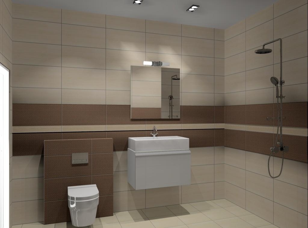 Łazienka wąska wystrój nowoczesny w kolorze beż, brąz