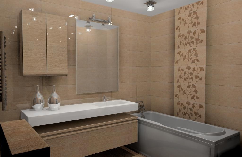 Projekt / aranżacja łazienki wystrój nowoczesny w kolorze beż, brąz