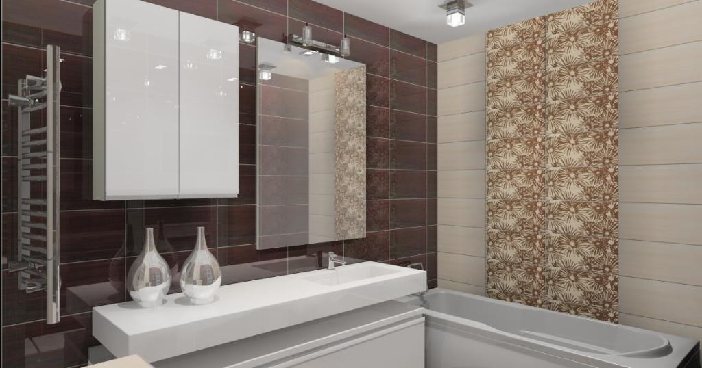 Projekt / aranżacja łazienki wystrój nowoczesny w kolorze brąz, krem