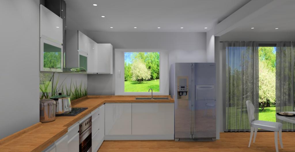 Aranżacja / projekt kuchni z jadalnią wystrój nowoczesny w kolorze biały, brąz