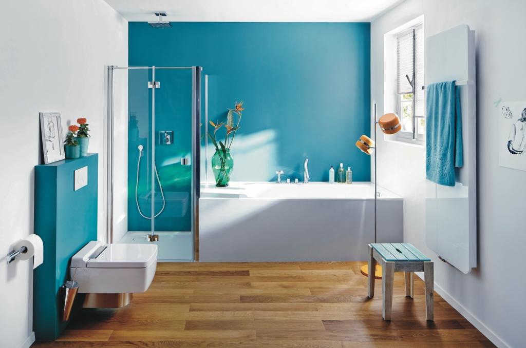 Projekt łazienki wystrój nowoczesny w kolorze biały ,niebieski, brąz