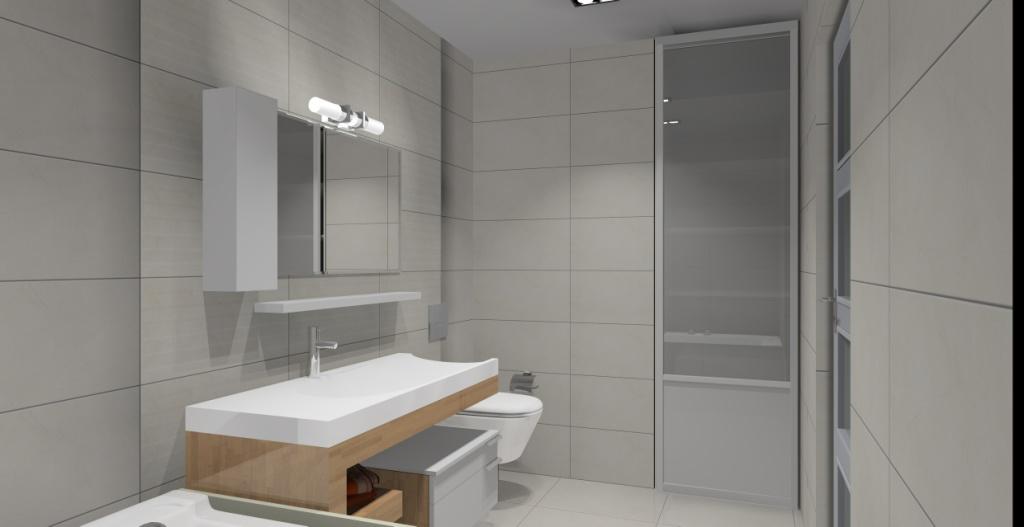 Aranżacja łazienki Wystój Nowoczesny W Kolorze Szarym