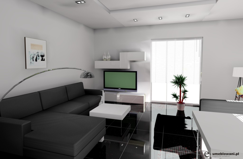Salon wystrój nowoczesny w kolorze biały, szary, czarny