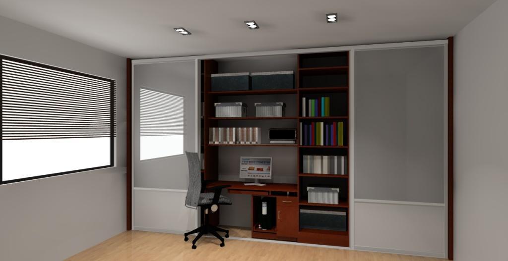 Nowoczesna architektura Aranżacja / projekt szafy z biurkiem drzwi przesuwne HE88