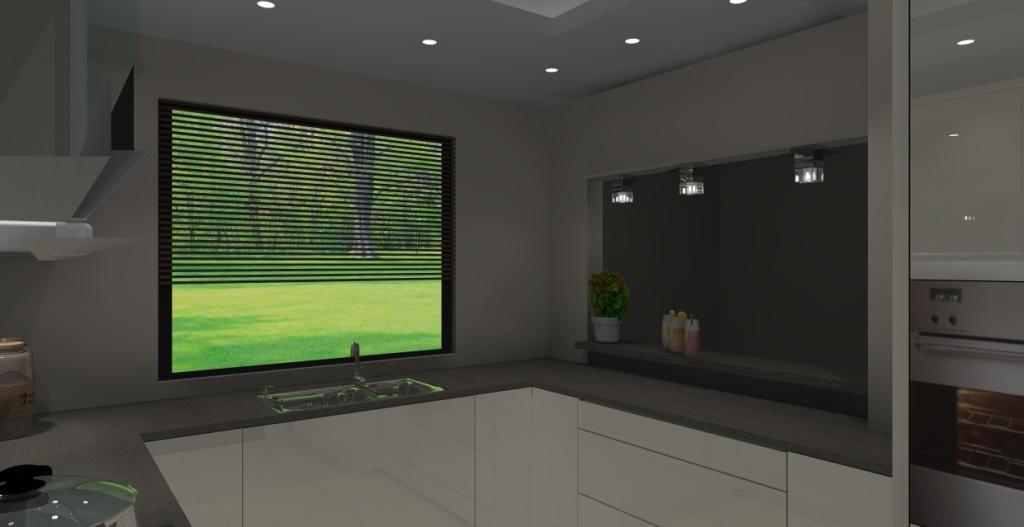 Kuchnia z oknem na salon, wystrój nowoczesny w kolorze ecru, brąz