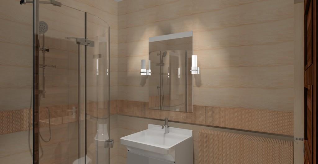 Małe łazienki wystrój nowoczesny w kolorze brązowym i beżowym - Projektowanie i aranżacja wnętrz