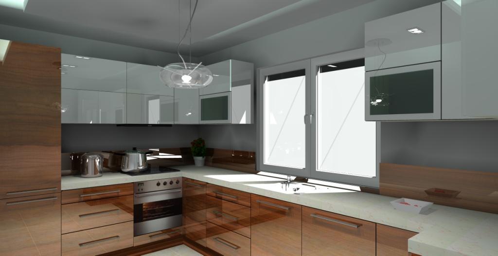 Projekt kuchni wystrój nowoczesny w kolorze biały, beż, brąz
