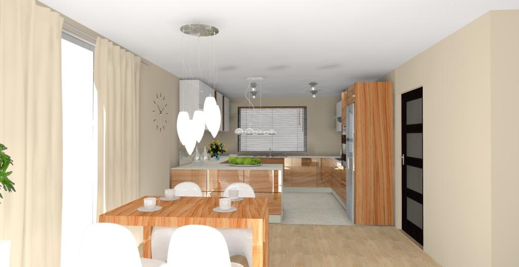 Elegancka nowoczesna kuchnia z barkiem w kolorze brązowym