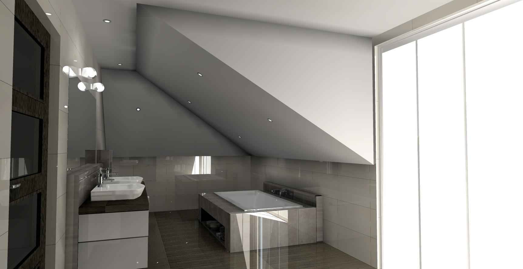 Projekt Nowoczesnej łazienki Ze Skosem