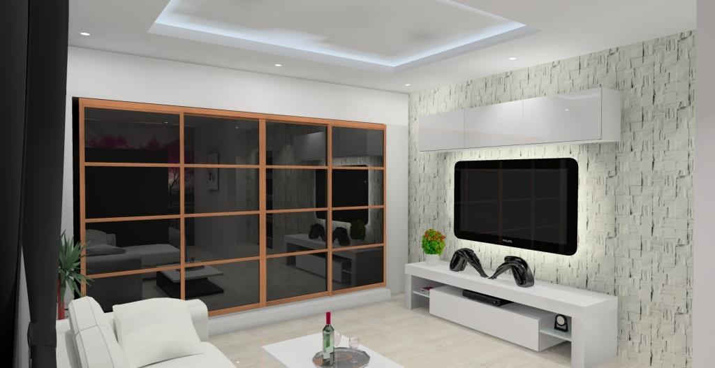 Pokój dzienny połączony z sypialnią w stylu nowoczesnym - Projektowanie i aranżacja wnętrz