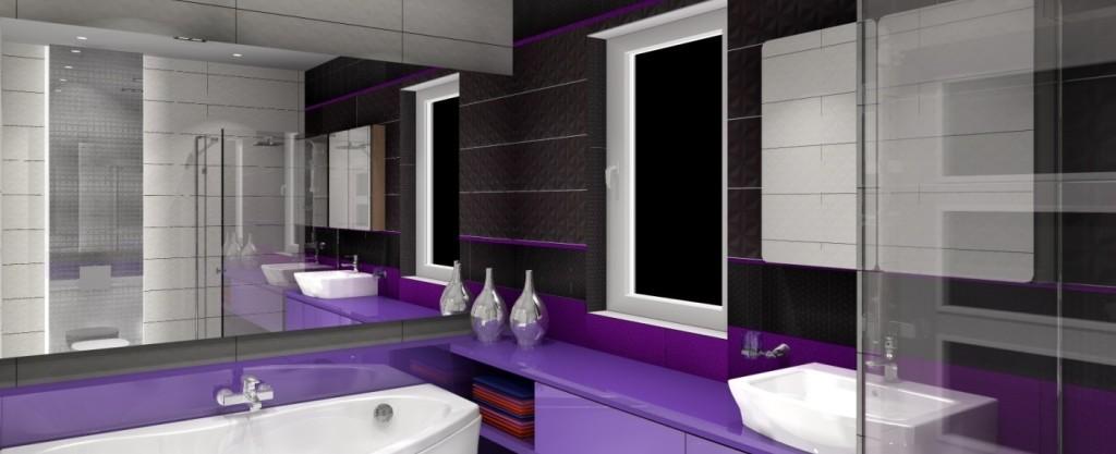 Łazienka w szarości, bieli z dodatkiem fioletu w stylu nowoczesnym - Projektowanie i aranżacja ...