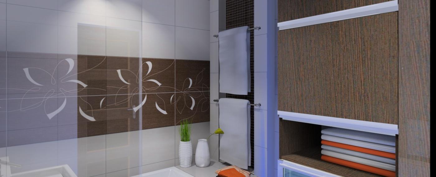 Nowoczesna łazienka W Kolorach Bieli I Brązu