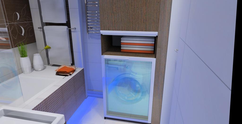 Nowoczesna łazienka w kolorach bieli i brązu. - Projektowanie i aranżacja wnętrz