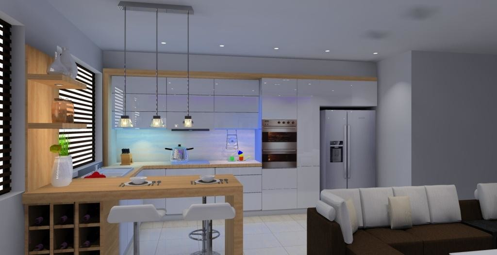 Salon Z Kuchnią W Kolorze Białym Brązowym Projektowanie