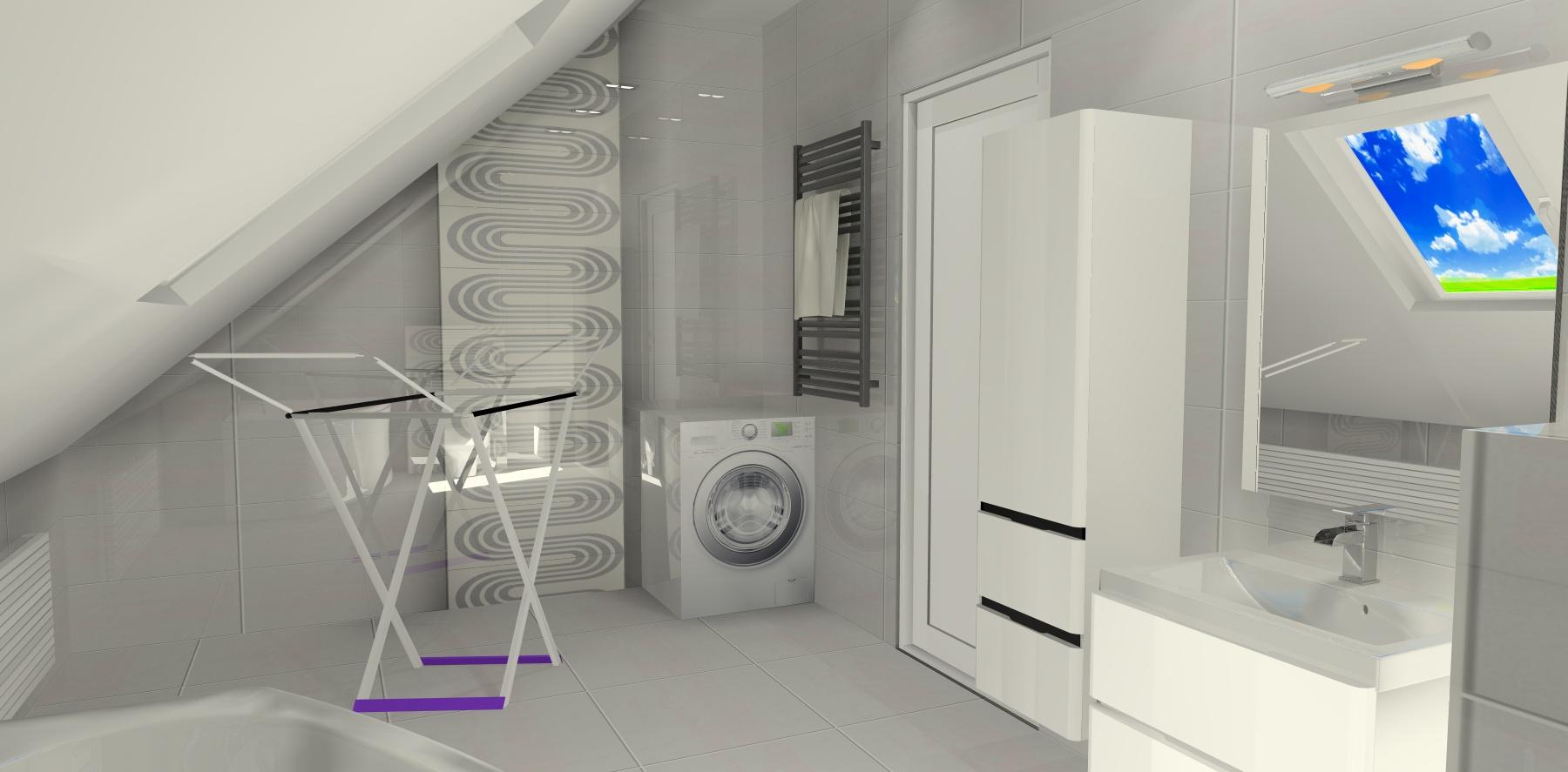 Mała łazienka Na Poddaszu Ze Skosami Projektowanie I