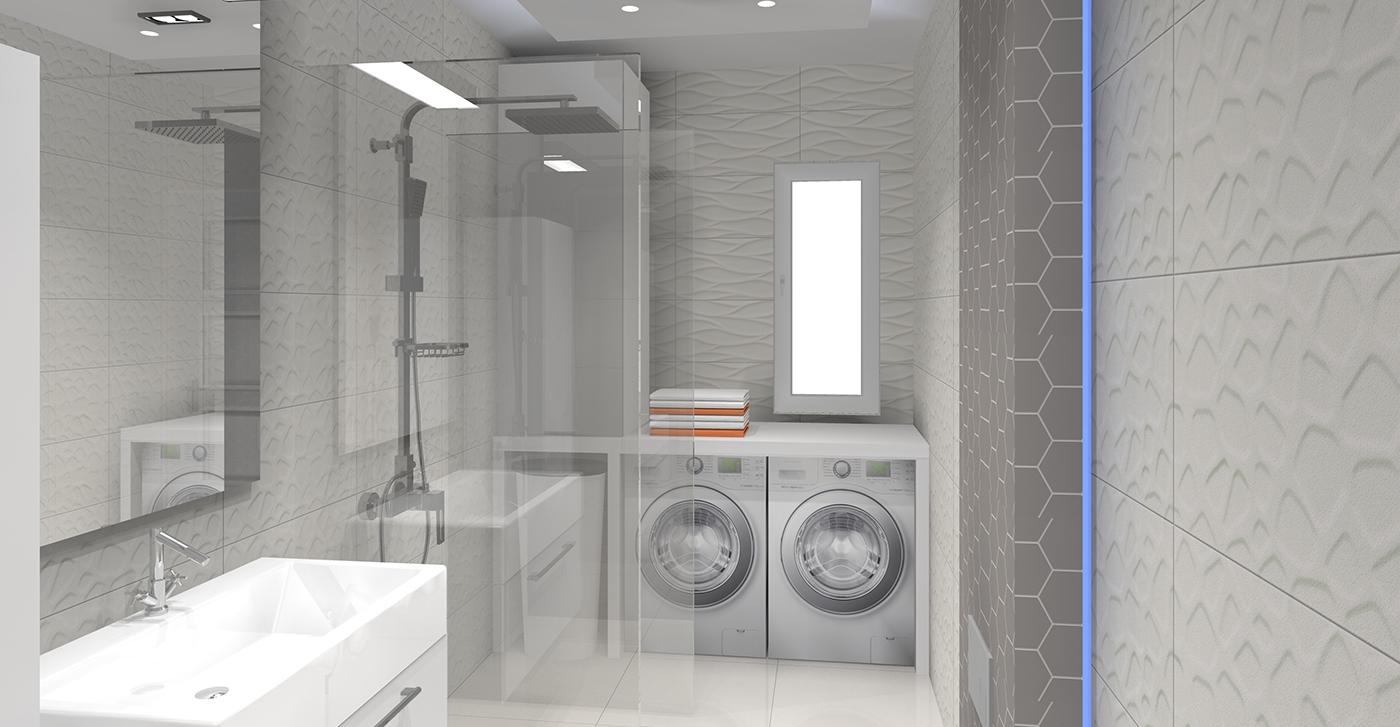 Nowoczesna łazienka szaro biała - Projektowanie i aranżacja wnętrz