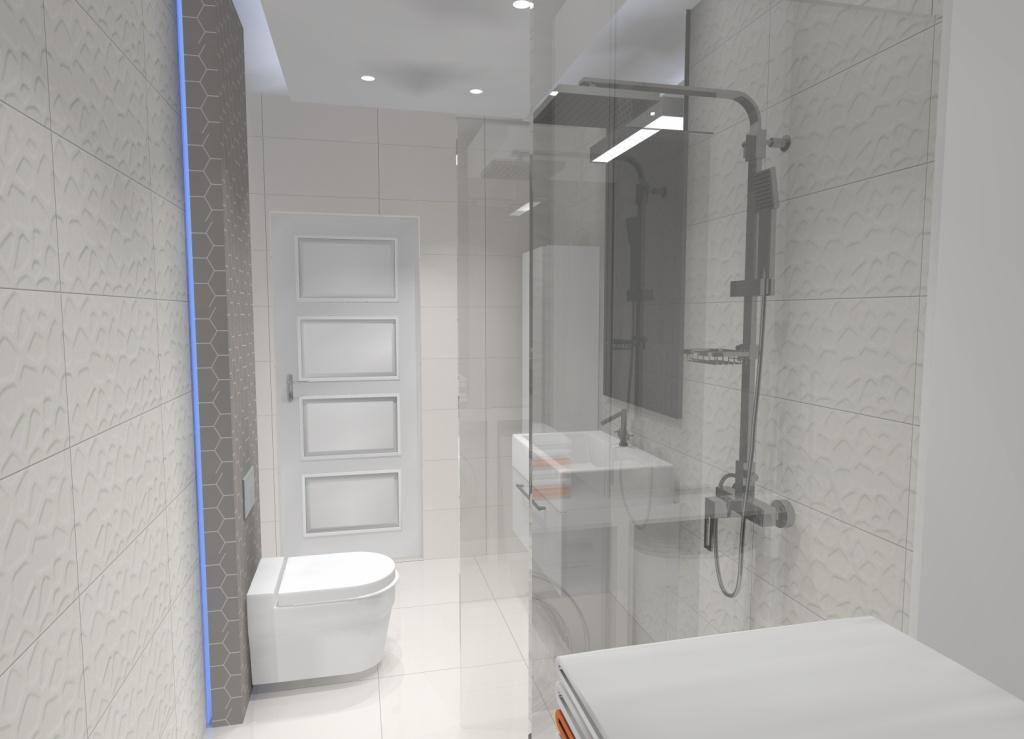 Nowoczesna łazienka Szaro Biała Projektowanie I Aranżacja