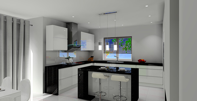 bialo-czarny-salon-z-aneksem-kuchennym-biale-szafki-wyspa-kuchenna-czarne-blaty