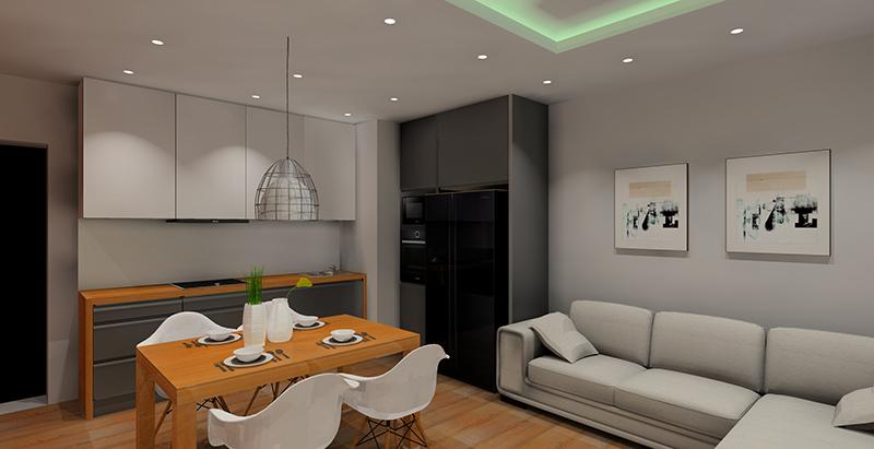 Projekt salonu z aneksem kuchennym. - Projektowanie i aranżacja wnętrz