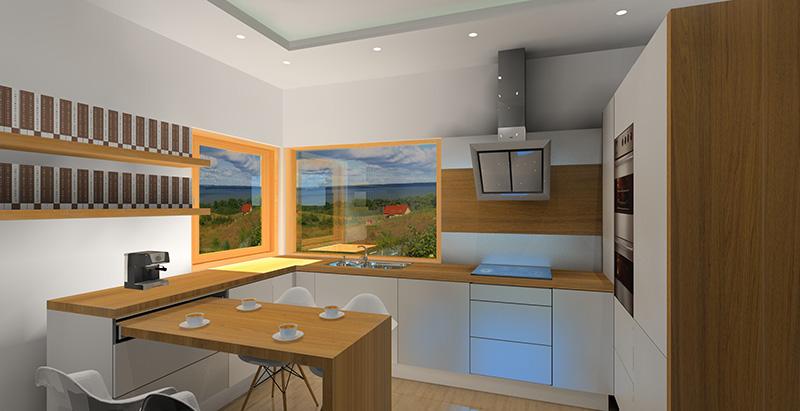 biala-kuchnia-z-drewnianym-blatem-stol-rozkladany-w-kuchni-okno-narozne-sciana-z-drewnem