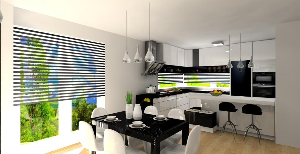 Aranżacja salonu z kuchnią i przedpokojem